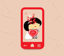 valentines day sweet love couple with hearts in phone-01