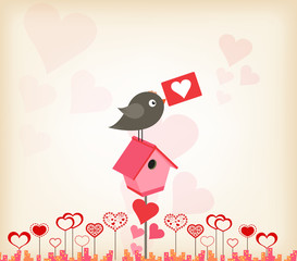 valentines day greeting card with birdhouse