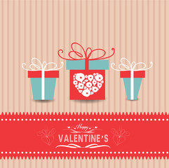 valentines day card with gifts