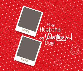 Blank instant couple photo frame lovely on red background