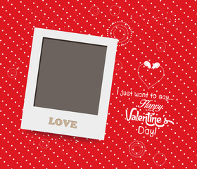 Blank instant photo frame lovely on red background