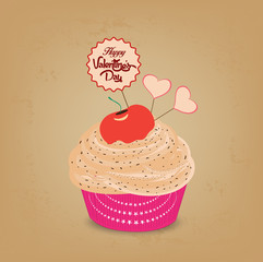 valentines day cupcake and heart