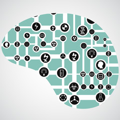 circuit board with app icons in human brain