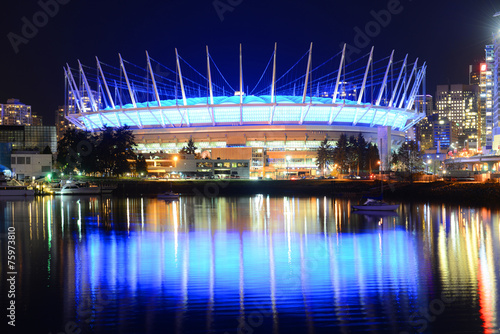BC Place Stadium at night, Vancouver, BC