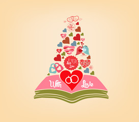 open book love hearts background