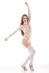 go-go girl in lace transparent white blouse and white gaiters