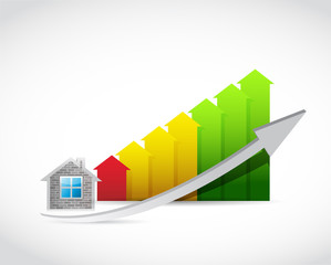 home arrow up graph illustration design