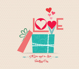Valentine's Day love greeting card with gift