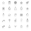 Christmas line icons with reflect on white background