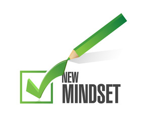 new mindset check mark pencil illustration