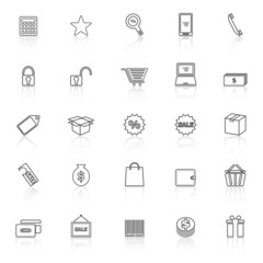 Shopping line icons with reflect on white background