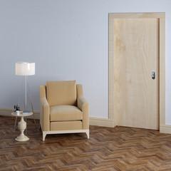 New empty room with beige armchair in classic interior design