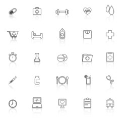 Health line icons with reflect on white background
