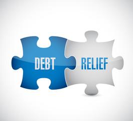 debt relief puzzle pieces illustration design
