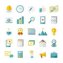 Modern flat business icons