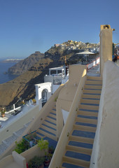 Santorini fira steps in the morning