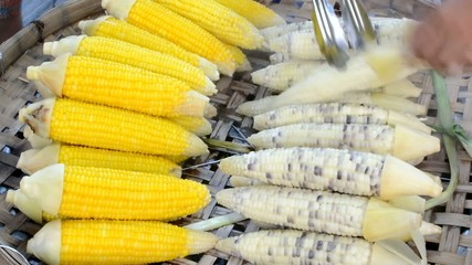 Boiled fresh corns and gummy corns are selected for sale