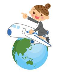 飛行機で飛び回るビジネスウーマン