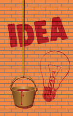 Word idea written on the wall