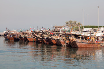Traditional wooden dhows in Kuwait, Middle East