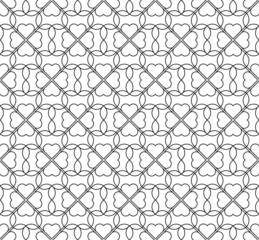 Black and white seamless pattern with heart stylish.