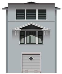 A tall grey building