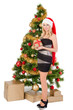 Beautiful blond smiling woman and Christmas tree.