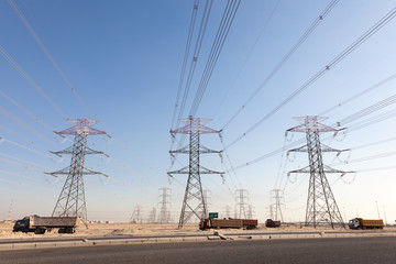 High voltage power lines in Kuwait, Middle East