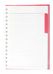 Blank page of red  spiral notebook