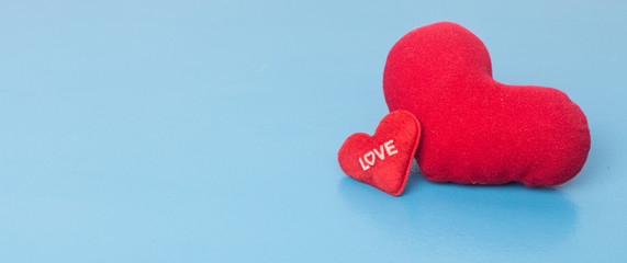 valentines day background with red heart  on blue