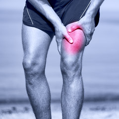 Muscle sports injury of male runner thigh