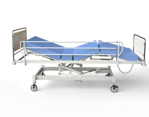 Hospital bed with blue bedding - left view