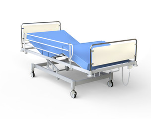 Hospital bed with blue bedding - right view