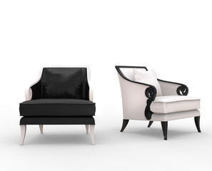 Black and white armchairs with various armrests