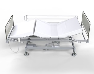 Hospital bed with white bedding - top view