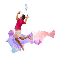 Geometric polygonal professional badminton player