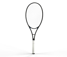 Black tennis racquet isolated on white