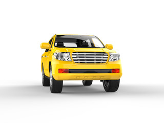 Yellow SUV isolated on white - front view