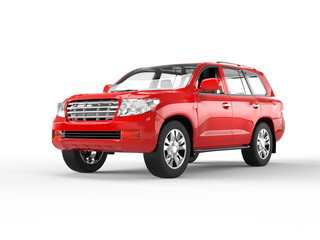 Red SUV on white background