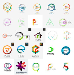 Logo collection, geometric business icon set