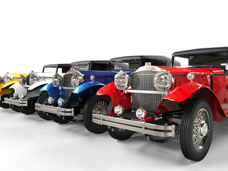Row of colorful vintage cars