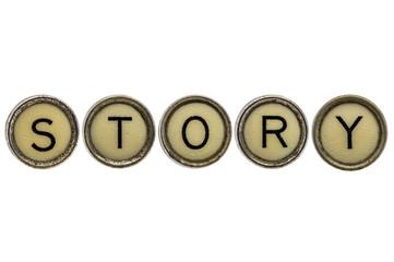 story word in typewriter keys