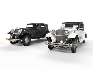 Black and wihte vintage cars