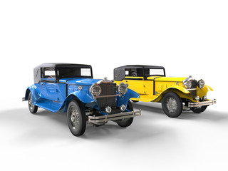 Blue and yellow vintage cars