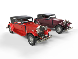 Red and burgundy classic vintage cars