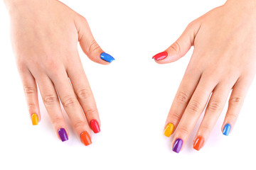 Multicolor female manicure isolated on white