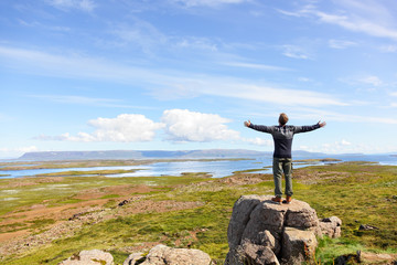 Freedom man in nature on iceland free