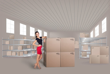 Young woman in warehouse