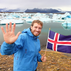 Iceland travel tourist showing Icelandic flag