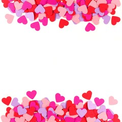 Valentines Day frame of colorful paper hearts over white